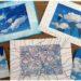 Activité créative enfants - dessiner sur des photos de nuages - imagination et dessin - invitation à créer - cadre en pastel étalé, au feutre et au feutre métallique contour - arts visuels maternelle et élémentaire - mslf