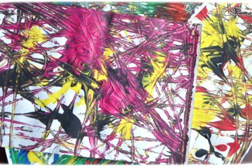 Activité créative enfants - technique de peinture rigolote - Peinture aux billes - Arts visuels - Feu d'artifice et mélange de couleurs - maternelle - mslf