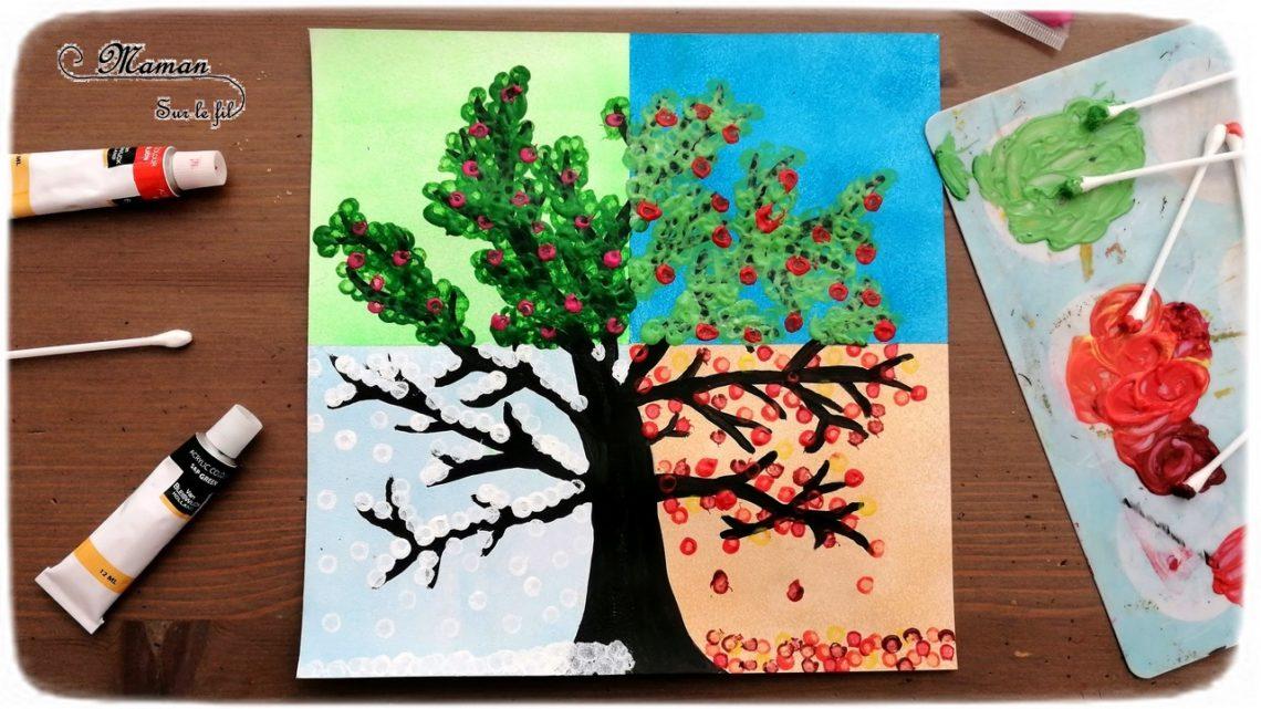 Activité créative enfants - technique de peinture rigolote - Arbre des 4 saisons au coton-tige - Couleurs, Rouleau et masking-tape - Arts visuels - printemps, été, hiver, automne - maternelle - mslf