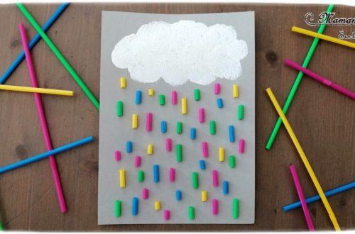 Activité créative enfants - Nuage peint avec un bouchon et pluie multicolore avec des pailles collées - technique de peinture - Météo et ciel - Arts visuels - maternelle - mslf