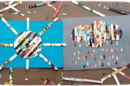 Activité créative enfants - Nuage, pluie et soleil en bandes d'emballage en carton - récup et collage - Météo, ciel et automne - Arts visuels - maternelle - mslf