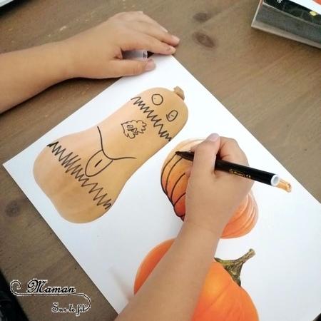 Activité créative enfants - Décorer des photos de citrouilles - Travailler le graphisme et le dessin - Découpage - Guirlande entre Automne et Halloween - Arts visuels - maternelle - mslf