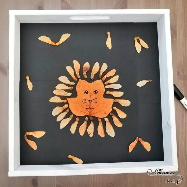 Land Art d'automne - Art éphémère avec des feuilles mortes, des samares, des rondins de bois, des batons - Lion, hérisson, soleil, étoile - activité créative enfants - Arts visuels et créativité maternelle - mslf