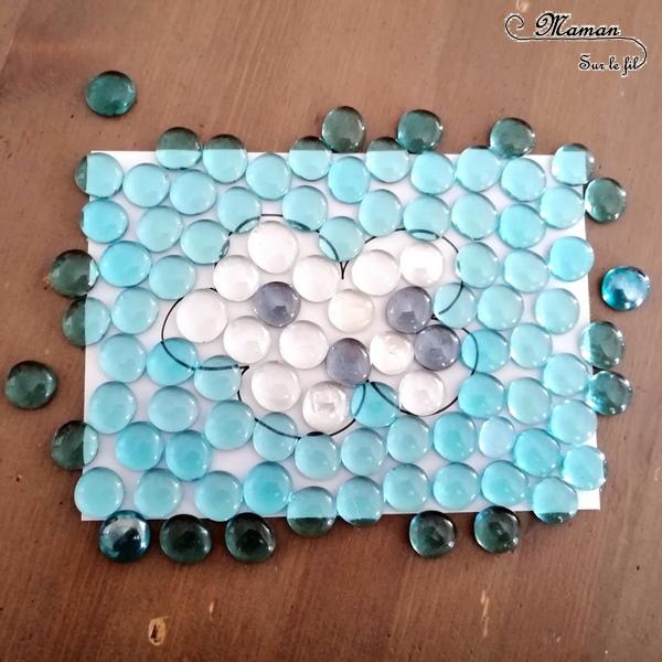 Activité enfants - Invitation à créer un nuage avec des billes plates - respect modèle - motricité fine - Couleurs - Préalables à l'écriture - météo et automne - mslf