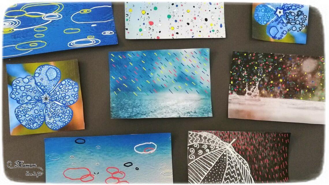 Activité créative enfants - Décorer et mettre la pluie en couleur sur des photos - Travailler le graphisme et le dessin - Pluie multicolore, météo et automne - Arts visuels - maternelle - mslf