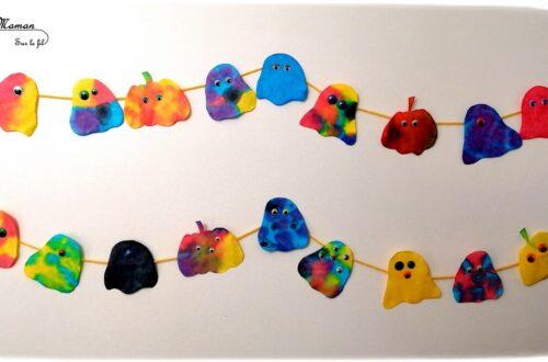 Guirlande d'Halloween en filtre à café - fantômes et citrouilles e,cre et pipettes - Couleur et mélange de couleurs - Yeux mobiles - Activité créative enfants - Décoration Halloween - Arts visuels - maternelle - mslf