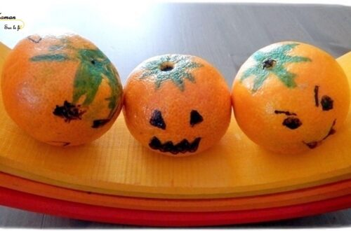 Activité créative enfants - fabriquer des mini citrouilles d'Halloween avec des clémentines - dessin - Récup - Décoration Halloween - Arts visuels - maternelle - mslf