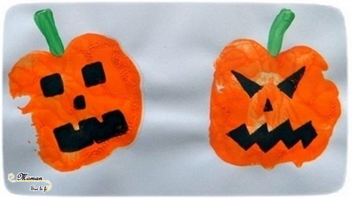 Créer des citrouilles d'Halloween avec des empreintes de pomme - Peinture et dessin - Activité créative enfants - Automne et Halloween - Récup et Nature - Décoration Halloween - Arts visuels - maternelle - mslf