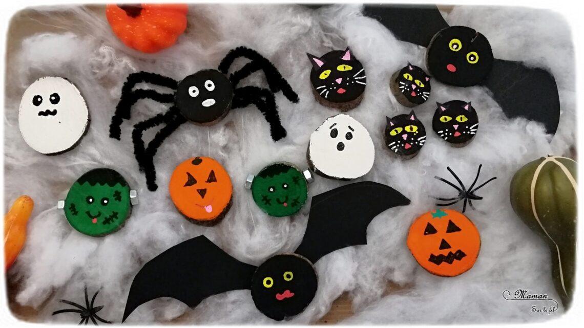 Nos rondins de bois d'Halloween - Créer des citrouilles, des fantômes, des chauve-souris, des araignées, des Frankenstein et des chats noirs en rondin de bois et peinture - Bricolage et DIY - Activité manuelle et créative enfants - Automne et Halloween - Récup et Nature - Décoration Halloween - Arts visuels - maternelle - mslf