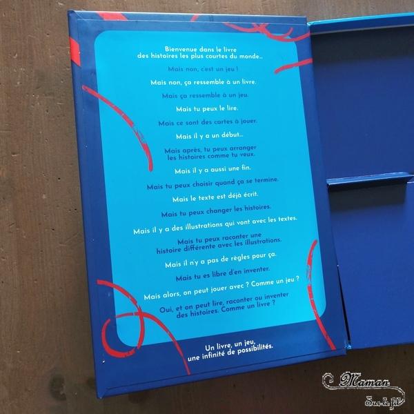 Livre Jeu enfants - Les histoires les plus courtes du monde des éditions Helvetiq - Cartes Ilustrations et textes à associer - Langage, imagination, lecture - avis et test - mslf