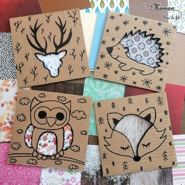 Fabriquer des animaux de la forêt à décorer - Jeu Bricolage DIY - Récup et carton - Hérisson, cerf, renard, hibou à décorer et habiller à volonté - activité enfants - mslf