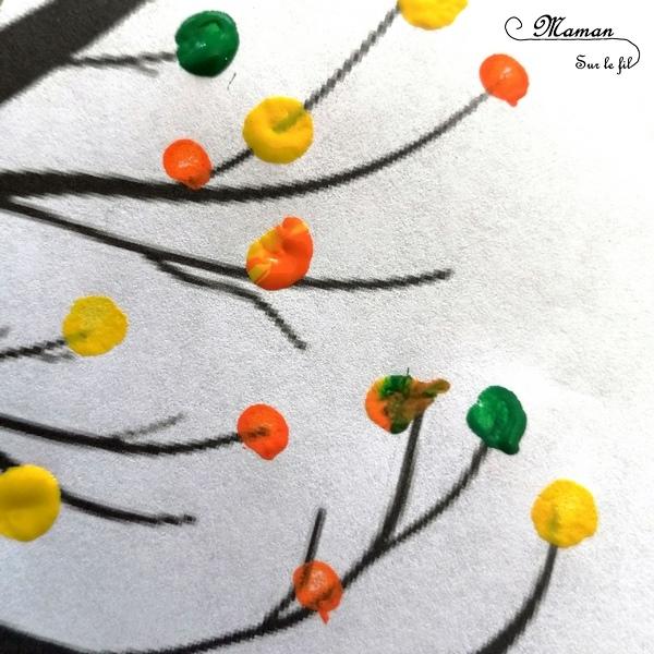 Activité enfant - Arbre automne avec des cotons-tiges - Peinture au coton-tige - créative et manuelle - pointillisme - Arts visuels maternelle - mslf