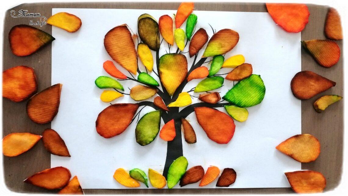 Activité enfant - Arbre d'automne en cotons démaquillants et encre - créative et manuelle - collage et motricité fine - Arts visuels maternelle - mslf