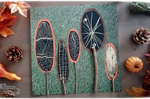 Activité enfant - Forêt et arbres automne en cartes à gratter - Tableau Sapin et bâtons - dessin et graphisme - Récup - créative et manuelle - Arts visuels maternelle - mslf