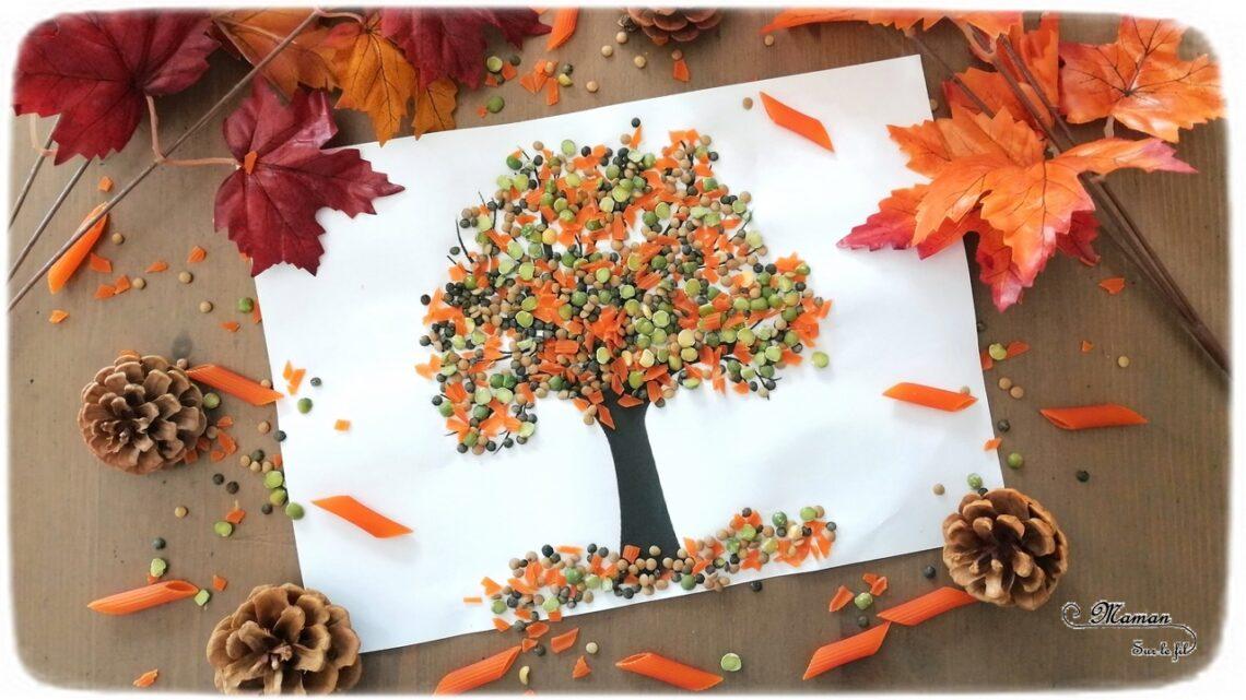 Activité enfant - Arbre d'automne en lntilles et pâtes corail - créative et manuelle - collage et motricité fine - Arts visuels maternelle - mslf