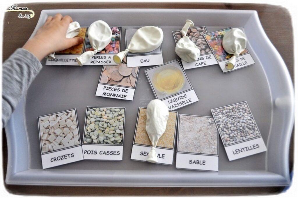 Fabriquer des ballons sensoriels DIY en récup - Jeu fait maison - Jeu autour des 5 sens - Toucher - Activité sensorielle - correspondance cartes nomenclature - Activité sensorielle enfants - atelier maternelle - mslf