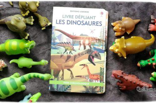 Test et avis livre enfants - Livre dépliant Les dinosaures chez Usborne - Livre grand format, format original - Temps Histoire - Documentaire et frise chronologique - Ludique - littérature enfant - mslf