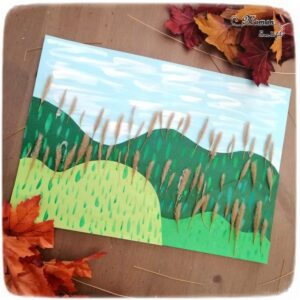 Activité enfant - Paysage avec collines et forêt - arbres automne avec nature - Land art - Peinture, découpage et collage papier - dessin et graphisme - Récup - créative et manuelle - Arts visuels maternelle - mslf