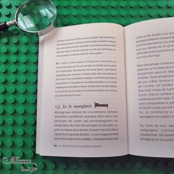Lecture adultes - Escape Book - La malédiction du Baron Samedi - 404 éditions - Livre à choix, escape game - Horreur, serial killer, énigmes, défis - Test et avis - mslf