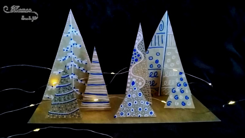 Activité créative enfants - fabriquer une forêt de sapins graphiques en 3D avec des emballages en carton - relief et récup - éclairage - dessin & graphisme - Arts visuels surcyclage - maternelle - cycles 2 et 3 - mslf