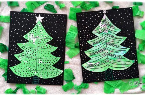Activité manuelle enfant - Sapins graphiques en peinture au papier crépon vert - Déchirer, poser et mouiller - graphisme - activité créative libre - Décorer le sapin - Arts visuels maternelle Noël et Hiver - mslf