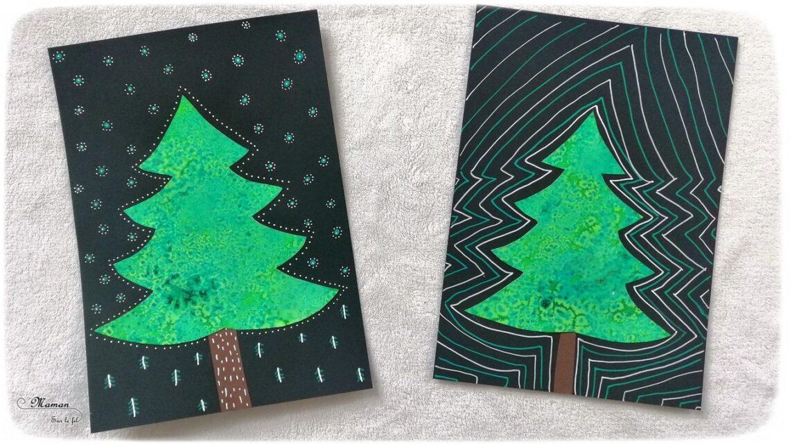 Activité enfant - Sapin avec encre et gros sel - Peinture, découpage, collage, graphisme - créative et manuelle - Arts visuels maternelle Noël et Hiver - mslf