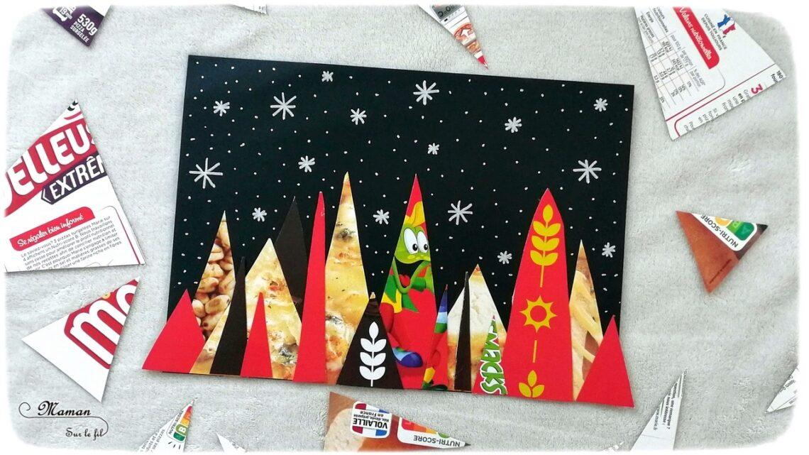 Activité manuelle enfant - Forêt de Sapins colorée de nuit avec des cartons emballage - Neige - Récup' recyclage surcyclage - découpage et collage - créative et manuelle - Arts visuels maternelle Noël et Hiver - mslf