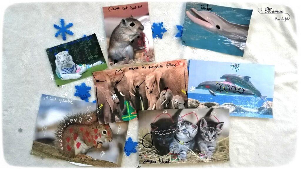 Activité créative enfants - Décorer et dessiner sur des photos d'animaux pour créer une carte de voeux DIY pour les maitresses - Travailler le graphisme et le dessin en s'amusant - imagination, simplicité et humour - Fait Maison - Joyeux noël bonnes fêtes - Arts visuels - maternelle et élémentaire - mslf