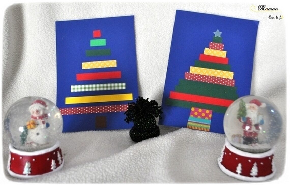 Activité enfants - cartes de voeux fait maison - DIY - Sapins en masking tape ou bandes de papier - tri par taille - maitresses ou famille - à offrir - noël - arts visuels maternelle fêtes de fin année - mslf