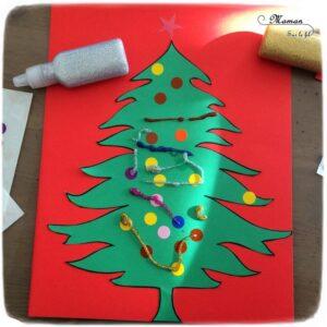Activité manuelle enfant - Décorer le sapin de Noël avec des gommettes et du gel pailleté - Découpage, paillettes - créative - Arts visuels maternelle et pré-scolaire Noël et Hiver - mslf
