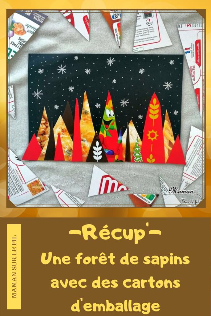 Activité manuelle enfant - Forêt de sapins colorée de nuit avec des emballages en carton - Neige - Récup' recyclage surcyclage - découpage et collage - créative et manuelle - Arts visuels maternelle Noël et Hiver - mslf