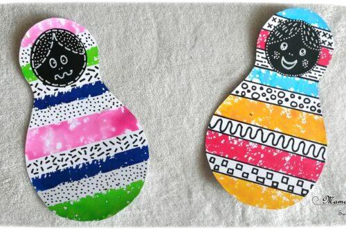 Activité créative enfants - Matriochka - Poupées russes en peinture ou encre à l'éponge et masking-tape - graphisme - contraste noir et couleurs - dessin - Russie - Froid polaire - bricolage - arts visuels maternelle - mslf
