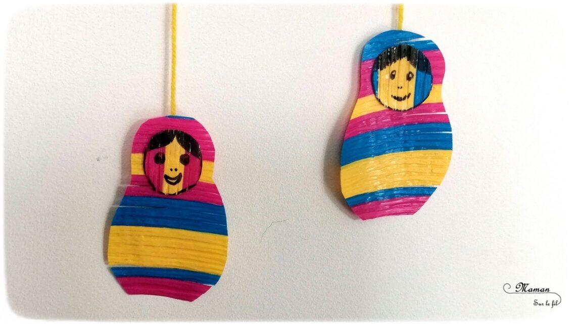 Activité créative enfants - Matriochka - Poupées russes en pailles fondues repassées - fer à repasser - dessin - suspension sur la Russie - Froid polaire - récup - bricolage - arts visuels maternelle - mslf
