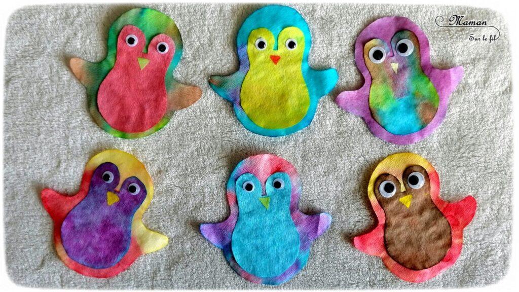 Activité créative enfants - Matriochka - Pingouins ou manchots avec encre et filtres à café - pipette - Bricolage avec collage et yeux mobiles - Banquise - Froid polaire - arts visuels maternelle - Mélange de couleurs - mslf