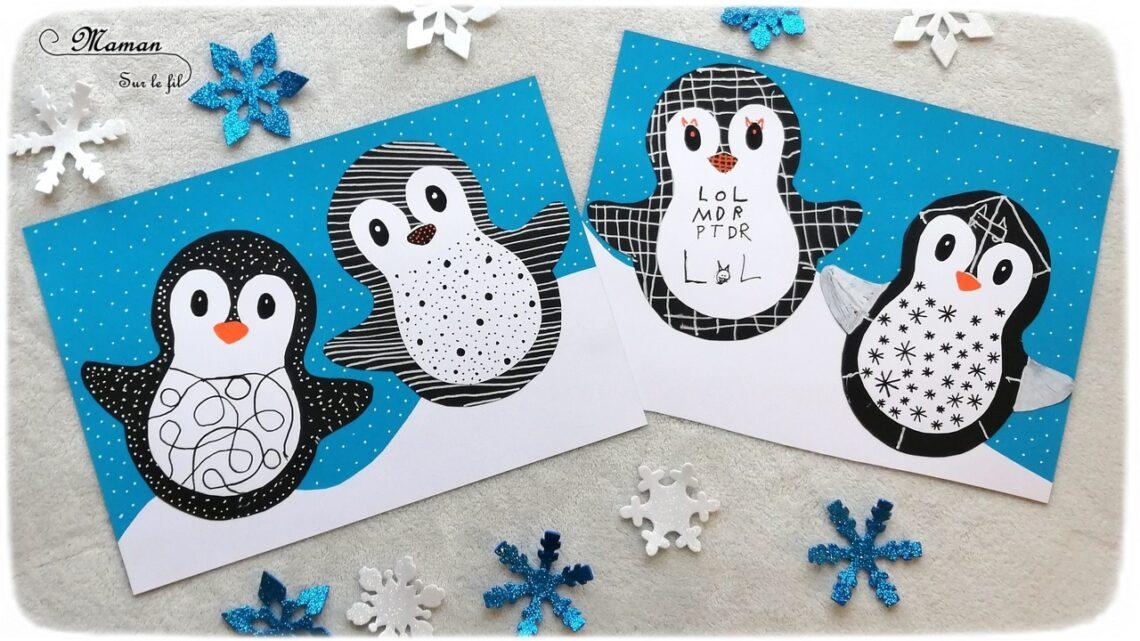 Activité manuelle enfant - Pingouins ou manchots graphiques sur la banquise - Neige - Papiers, collage, découpage - Graphisme en noir et blanc - créative et manuelle - Arts visuels maternelle Hiver et animaux du froid- mslf