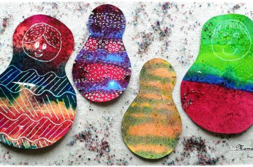 Activité créative enfants - Matriochka - Poupées russes en peinture Encre et gros sel - technique de peinture - Graphisme - Russie - Froid polaire - bricolage - arts visuels maternelle Hiver - mslf