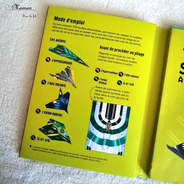 Test et avis livre enfants - 100 super jets à plier et à faire voler - éditions Usborne - Livre jeu - activité manuelle enfants - Origami - plusieurs avions en papier - Motricité fine - littérature enfant - Pliage - véhicules - mslf
