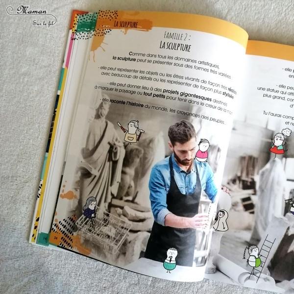 Test et avis livre enfants - Jamais trop d'art - Documentaire sur les différentes classes d'art - sculpture, architecture, arts visuels, musique, arts de la scene, littérature, cinéma - éditions Langue au chat - Informations sur oeuvres variées - anecdotes rigolotes - littérature enfant jeunesse - mslf
