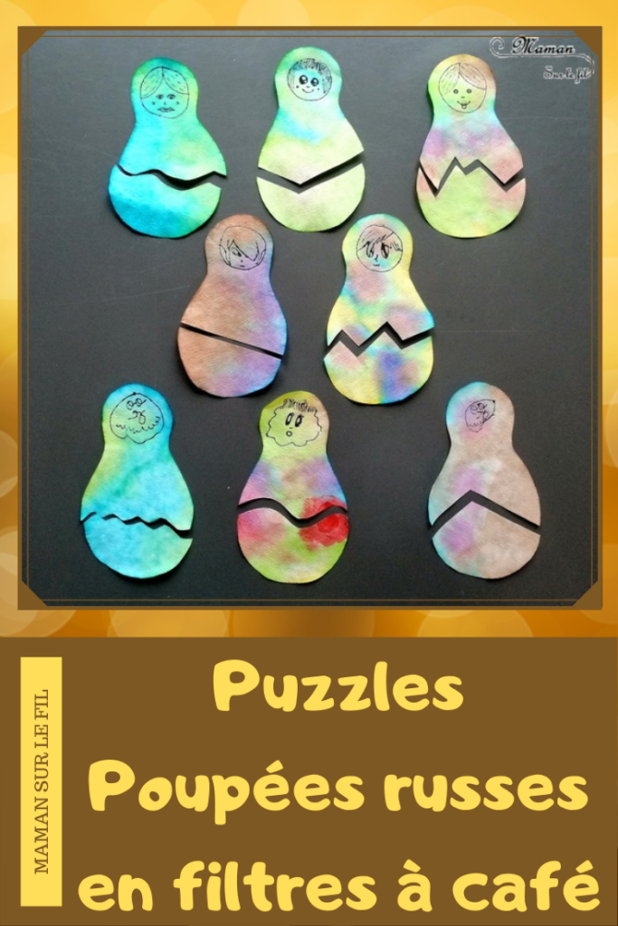 Activité créative enfants - Matriochka - Puzzles Poupées russes avec encre et filtre à café - pipette - jeu association DIY - Fait Maison - dessin du visage - Russie - Froid polaire - bricolage - arts visuels maternelle - mslf