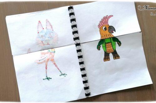 Activité créative enfants - Créer un cahier ou carnet à manipuler pour mélanger et créer des alebrijes - Animaux imaginaires mexicains colorés - Méli-Mélo - Coloriage graphique et type mandala, découpage et manipulation - A partir de coloriage d'alebrijes on en invente et créé d'autres - Découverte de l'art du Mexique - Créativité - Amérique du Nord et Mexique - Découverte d'un pays - Espace et géographie - arts visuels et atelier maternelle et Cycles 1, 2 et 3 - Eté - mslf