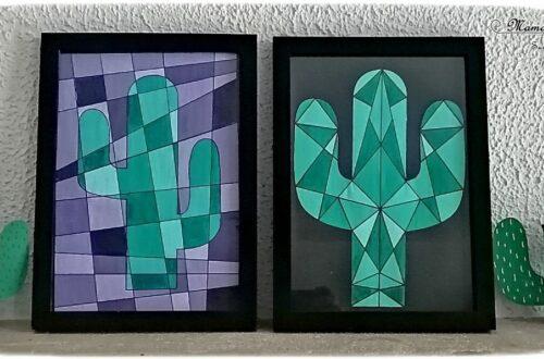 Activité créative enfants - Peindre des cactus graphiques avec la technique des dégradés de couleurs - Amérique du sud - Mexique - peinture, symétrie et constraste - activités autour du monde - Arts visuels Découverte d'un pays - Espace et géographie - arts visuels Cycle 2 ou 3 - Eté - mslf