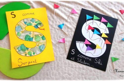 Abécédaire créatif - S comme Serpent Slalom et Ski - activité manuelle enfants - dessin, formes géométriques au pochoir, crayons de couleur, collage drapeau- apprentissage lettres alphabet - maternelle - Alphabets lettres creuses gratuit - mslf