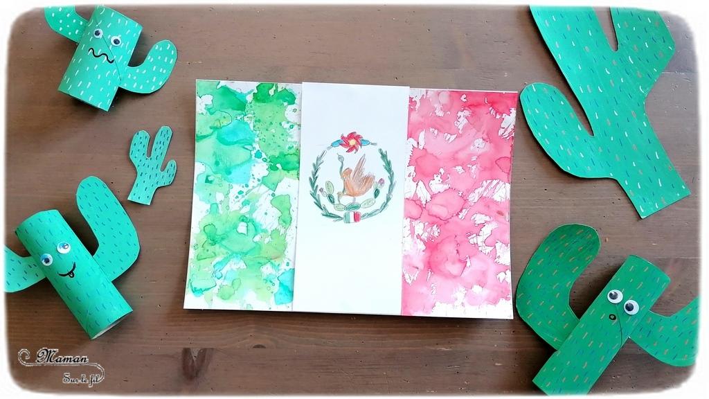 Activité créative enfants - Reproduire le drapeau mexicain en encre au marteau et dessin - Motricité fine - Technique ludique - Coloriage - Crayon de couleurs - Créativité - Amérique du Nord et Mexique - Découverte d'un pays - Espace et géographie - arts visuels et atelier maternelle et Cycle 1 et 2 - Eté - mslf