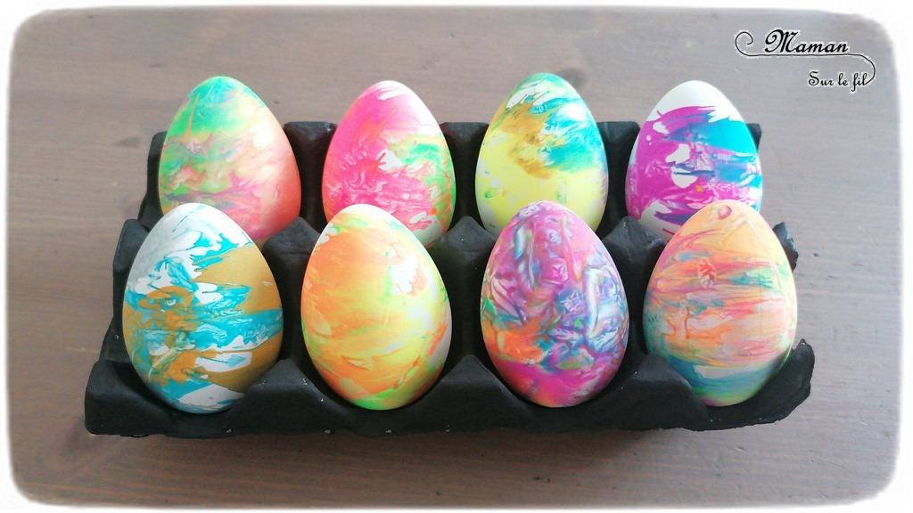 Activité créative enfants - Oeufs de Pâques à l'essoreuse à salade - Peinture - Gommettes Bonhommes - Bricolage de Pâques - Œufs décorés peints -Technique de peinture ludique - mélange des couleurs - marbrée - Arts visuels maternelle - Chasse - mslf