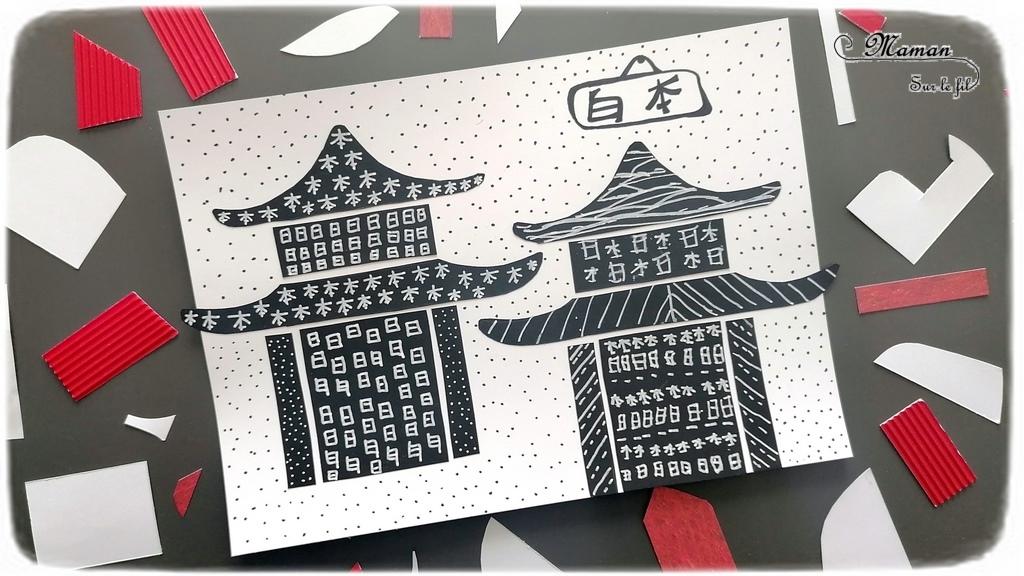 Activité créative enfants - Temples japonais ou chinois en papier noir découpé et collé - Temples graphiques noirs et blancs - Motricité fine, taille - graphismes - Calligraphie écriture japonaise - Créativité - Asie et Japon - Découverte d'un pays - Espace et géographie - arts visuels et atelier maternelle et Cycle 1 et 2 - mslf