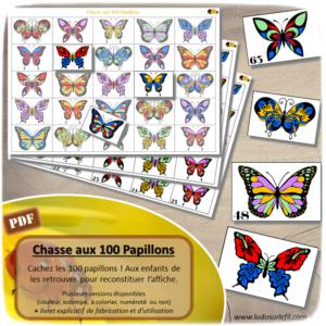 Chasse aux 100 papillons - Chasse géante - Discrimination visuelle, patience - Thème printemps et insectes - Jeu à télécharger et à imprimer - Format PDF - lslf