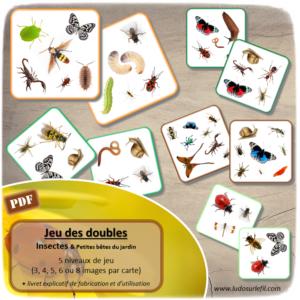 Jeu des doubles - Insectes et petites bêtes du jardin - Jeu PDF à télécharger et à imprimer ou imprimé - 5 niveaux (3, 4, 5, 6 ou 8 images par carte) - Discrimination visuelle - lslf