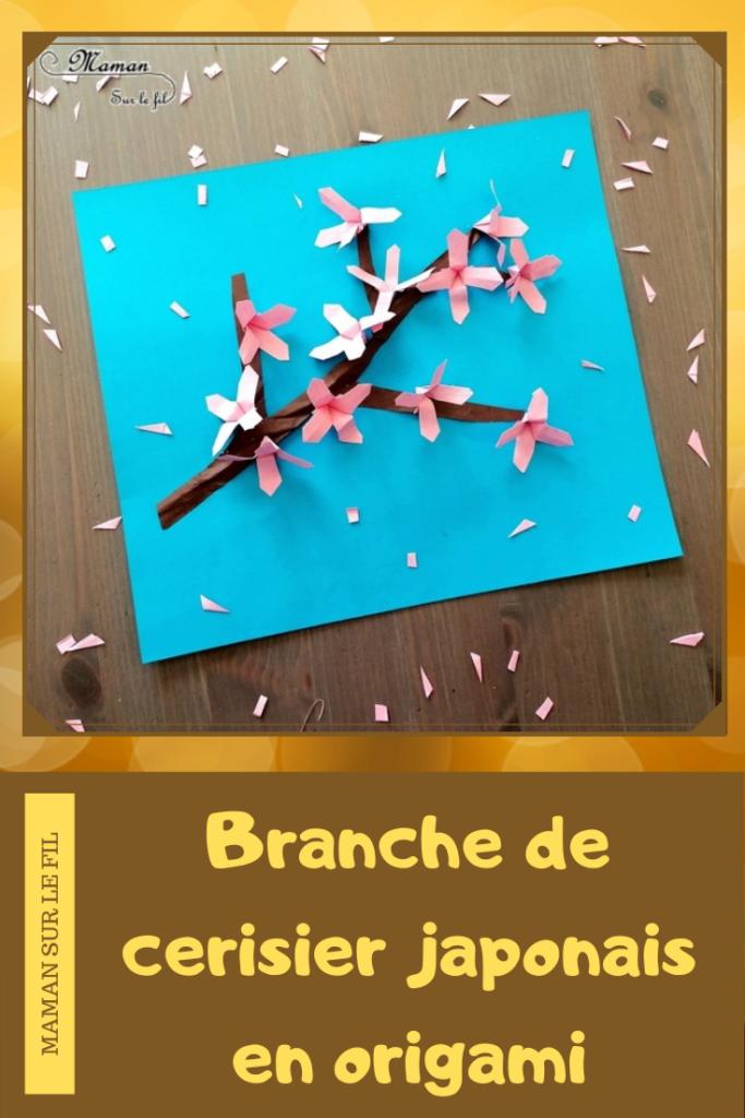 Créer une branche de cerisier japonais Sakura en origami - Papier : découpage, froissage, pliage - Branche et fleurs roses - Japon et Asie - Chine - Découverte d'un pays autour du monde - activité créative enfants - Bricolage Printemps - Tutoriel - Arts visuels maternelle - mslf