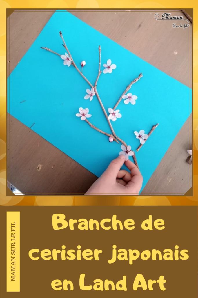 Activité créative enfants - Créer une branche de cerisier japonais en land art - branche et fleurs roses - printemps - éléments de nature du jardin - Découverte d'un pays - Autour du monde - Asie et Japon - Arts visuels - éphémère - maternelle - mslf