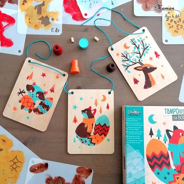 Activité enfants - Kit créatif - Tampographie sur bois - Animaux de la forêt - Cerf, raton et renard - tout matériel nécessaire - Tampons encreurs, Planchette de bois, pochoirs - Kit parfait pour l'automne - Coup de coeur pour les couleurs - Suspensions - réutilisable à souhait - mslf